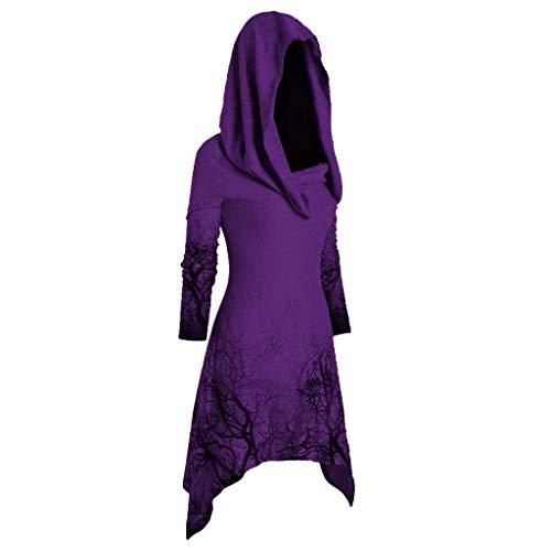 Damen Mittelalter Kleid mit Kapuze Umhang Lang Oberteile Halloween Print T-Shirt-Kleid Hoodie Casual Sweatkleid Kanpola