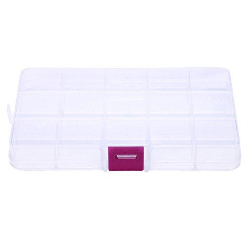 OSYARD Fächer Aufbewahrungsbox,Klar Sortierboxen Plastik Aufbewahrungsbox Schmuckkasten Einstellbar Sortimentskasten für Schmuck Veranstalter Perlen Ohrring (15 Raster)