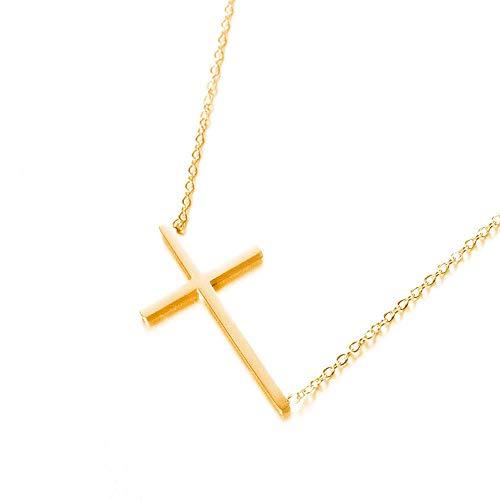 TTbaoz Cruz Collares Pendientes Joyas Collar de Gargantilla de Acero de Titanio para el día de San Valentín Colar-Gold