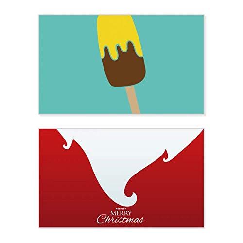 Weihnachtskarte mit gelbbrauner Schokolade, süßes Eis