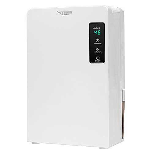 VIVOSUN Electric Mini Dehumidifier, Ultra-Quiet Auto Defrost Dehumidifier with Timer, 2200ML Water Tank and Drain Hose for Basement or Smaller Room