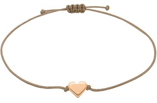 Selfmade Jewelry Herz Armband Roségold - Hellbraunes/Beiges Armband Textil mit rosegoldenem Herz - Größenverstellbar - Handmade