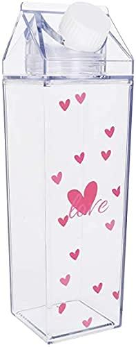 Dulcicasa Botella de Agua de cartón de Leche de 500ML, Caja de Leche de plástico Transparente, Botella de Leche Reutilizable, Botella de Agua portátil para Actividades de Camping (Wie Gezeigt)