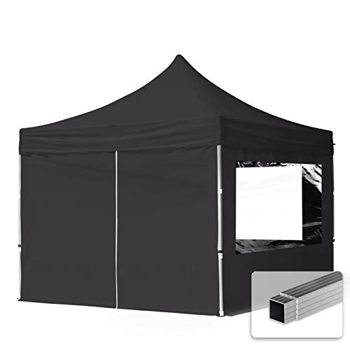 TOOLPORT Faltpavillon Faltzelt 3x3m - 4 Seitenteile 32mm ALU Pavillon Partyzelt PES300 100% WASSERDICHT schwarz