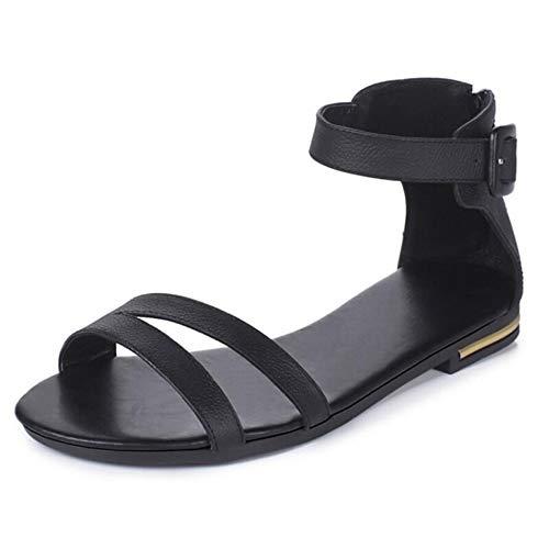 Dames nappa leer zomer sandalen platte hak zwart/beige/champagne