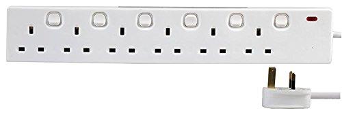 13amp gang 5x Masterplug 8 Way Neon Indicateur Prises Câble 2 m Extension Lead