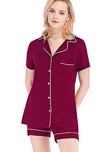 OMZIN Damen Nachthemden Sommer Schlafanzug Bequem mit Kurzen Hose Nachtkleid Sommer Sleepwear Short Pyjama Rot L