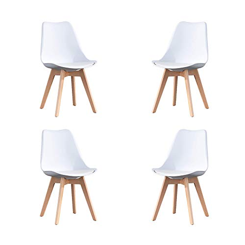 KunstDesign Nordic Chair (Pack 4) - Silla escandinava blanca - Mona - (Elija su color)