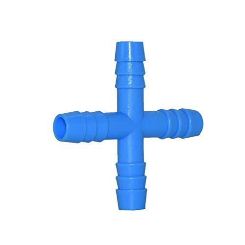 NEBSM 20 PCS 8 mm Conector de Agua Cruzada Fuente de Bebida para Conejos Conector de 4 vías Splitter de Agua Manguera de jardín Accesorios de irrigación Jardinería Riego (Color : Blue)