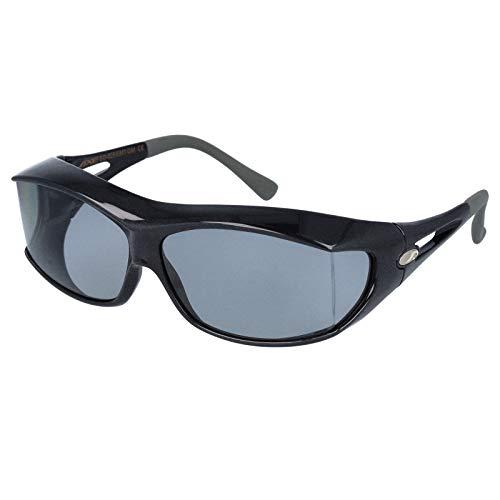 AXE(アックス) サングラス 悪天候・低光量時用 UVカット 偏光レンズ 180度以上視界確保 大型メガネ着用可能 フレーム:ガンメタル/レンズ:スモーク SG605P