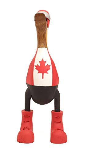 Brave Wings Hand Carved and Painted Wooden Bamboo - Roller Blade Duck with Canadian Flag Jersey - Wood Ornament Sculpture Figurine Statue Unique Table Decoration Home Decor Gift for Christmas - 2773