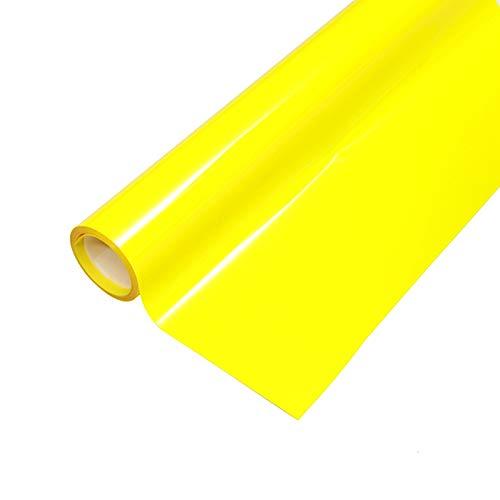 "Heat Transfer HTV Vinyl,12"" x 6.5 FT HTV Vinyl Rolls, Fluorescent Color,for Decor Sticker, Weeding Machine, Craft Cutter Machine, Printers, Letters, Car Decal, Vinyl Paper (Fluorescent Yellow)"