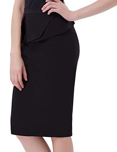 GRACE KARIN Ruffled Office Bow Pencil Skirt for Women Knee Length Black M