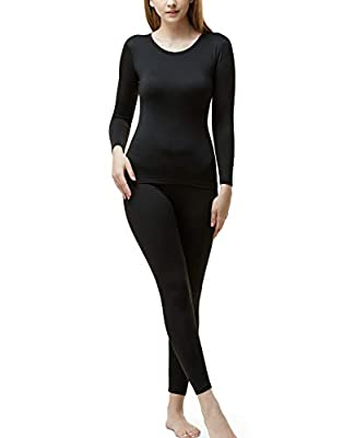 TSLA Blank Women's Thermal Microfiber Soft Fleece Long Johns Top & Bottom Set, Thermal Set(whs200) - Black, Small