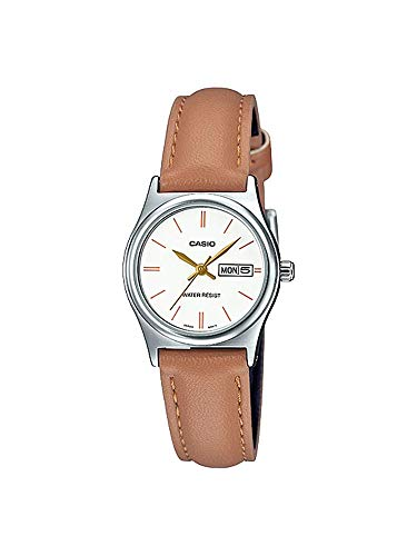 Casio LTP-V006L-7B2 Women's Brown Leather Band White Dial Day Date Analog Dress Watch