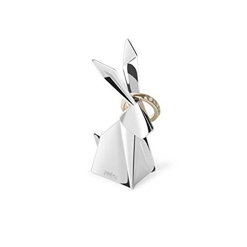 Umbra Origami Hasen Ringhalter – Moderne Ringablage, Ideales Gastgeschenk, Beschichtetes Metall / Chrom