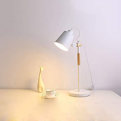 boaber Ajustable Ángulo Turística Simplicidad Lámpara De Mesa LED Caliente De La Lámpara Dormitorio De La Luz Decorativa Moderna Creative Studio 18 * 18 * 55cm (Color : White)