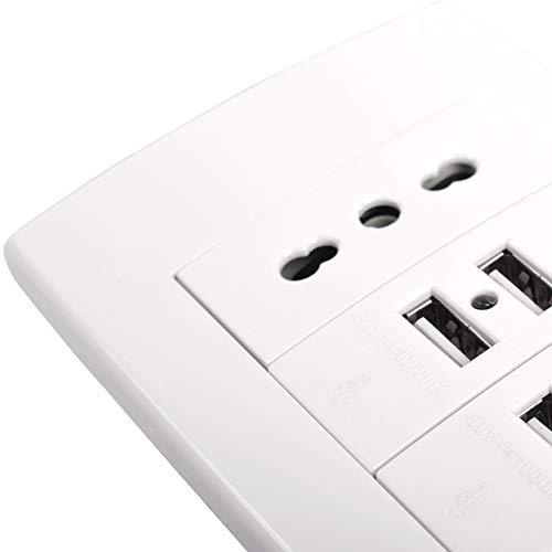 XINRISHENG Enchufe de Pared, Toma de Corriente Italiana/chilena con 4 Puertos de Cargador USB para móvil 118 mm * 80 mm