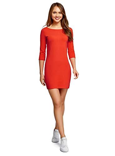 oodji Ultra Damen Baumwoll-Kleid Basic, Orange, DE 36 / EU 38 / S