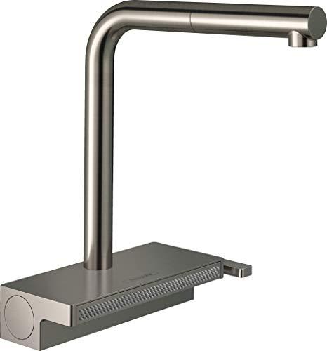 Hansgrohe Aquno Select M81 Grifo monomando de cocina 250, caño extraíble, 2 tipos de chorro, sBox, acabado de acero inoxidable, 73830800