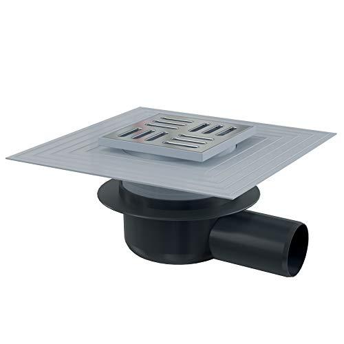 Siphon de sol avec grille inox - 105x105/50 - Sortie horizontale