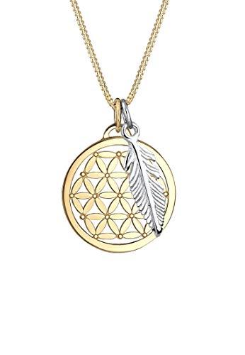 Elli Halskette Elli Damen Halskette Lebensblume Feder Bi-Color in 925 Sterling Silber Rosé Vergoldet