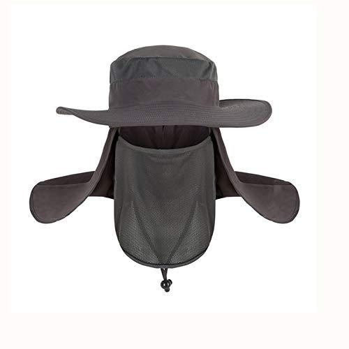 byou Sombrero de Sol,Gorra de Pesca al Aire Libre Nylon 360 ° Protección Solar Sombrero con Correa de Barbilla Ajustable y Corona de Malla Transpirable para Caza Paseo en Barco Excursionismo