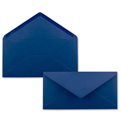50 Brief-Umschläge Dunkel-Blau/Nachtblau DIN Lang - 110 x 220 mm (11 x 22 cm) - Nassklebung ohne Fenster - Ideal für Einladungs-Karten - Serie FarbenFroh
