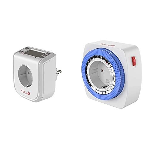 Garza Power - Temporizador-Programador Digital Mini, 16 Programas, 24 Horas+ 400603 Temporizador Analógico Mini, Blanco - Azul