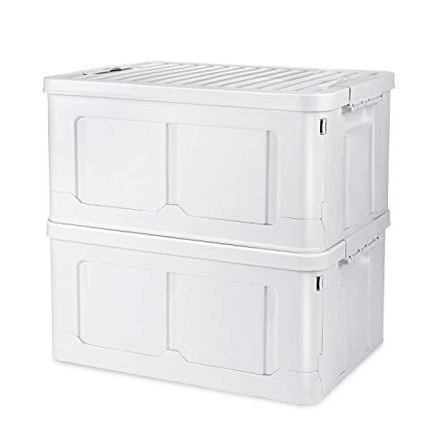 Adkwse 2er-Set Aufbewahrungsbox Mit Deckel, Faltbarer Aufbewahrungsboxen Mit Beweglich Klickverschluss, Stapelbare Kisten Storage Box Faltbox Für Aufbewahrung und Transport, Plastik (PP), Weiß, 40L