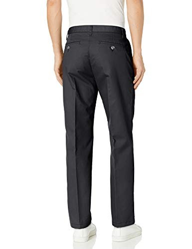 Lee Men's Total Freedom Relaxed Fit Flat Front Pant - 36W x 32L - Black