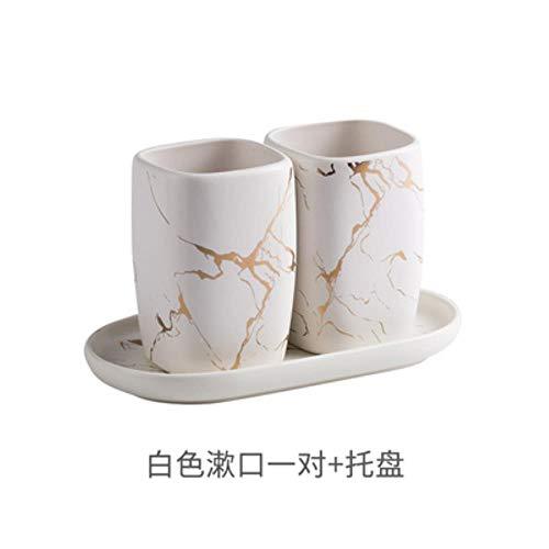 Keramische marmer mondwater kopjes paar set tandenborstel mok + keramiek dienblad wastafel tandenborstel paar bruiloft cadeau badkamer accessoire 3 stuks set 3.