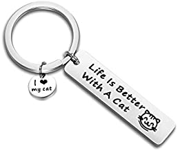 FEELMEM Life Is Better With A Cat Keychain Cat Memes Gift Cute Cat Keychain Gift for Cat Lovers, Mom, Dad, Co-Worker, Friends (silver)