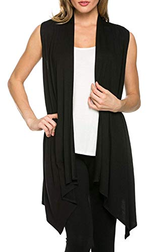 Women's Solid Color Sleeveless Asymetric Hem Open Front Cardigan (Black, XL)