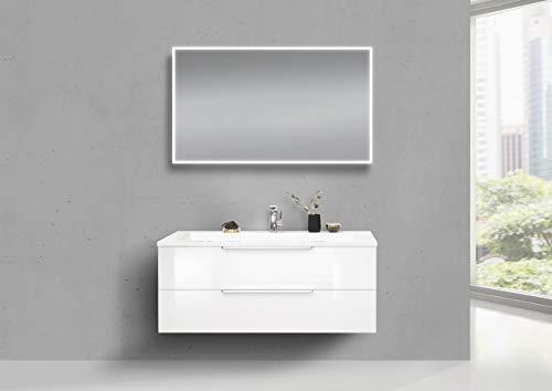 Intarbad ~ Design Badmöbel CUBO 120 cm Evermite Waschbecken Weiß Hochglanz Lack Grau Matt Lack (ab 15.07.2020)