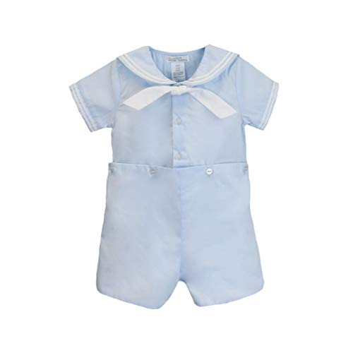 Petit Ami Baby Boys' 2 Piece Nautical Bobby Suit with Collar, 24 Months, Blue
