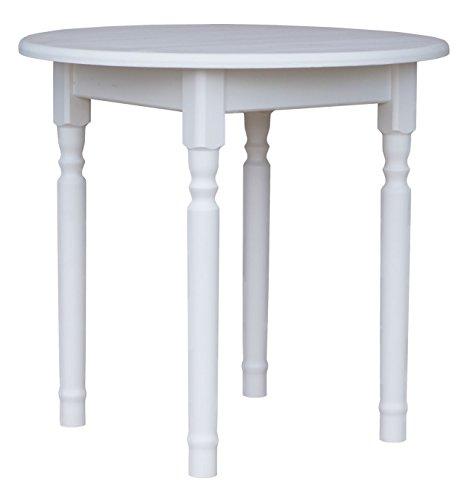 koma Runder Kiefer Tisch Esstisch Holz Küchentisch massiv weiß Honig Landhausstil (WEIß)