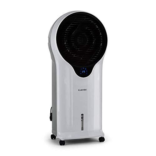 Klarstein Whirlwind - Enfriador de aire portátil, Ventilador refrescante, 3-EN-1: enfría ventila humidifica, 90W, 5,5L, Oscilador, Movilidad 360º, Asas Laterales, 3 Niveles de Intensidad, Marfil