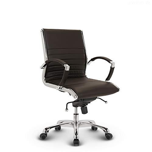 VERSEE Design Bürostuhl Montreal - Echt-Leder - braun - Konferenzstuhl, Meetingstuhl, Drehstuhl, Bürodrehstuhl, Schreibtischstuhl, Designklassiker, hochwertige Verarbeitung, 150 kg belastbarkeit