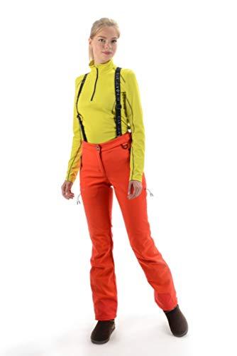 Stayer Thermohose Damen Winterhose Skihose mit Hosenträger auffällig Orange Figurformend (XL)