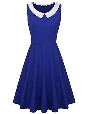 KASCLINO Vintage Dress,Women's Summer Casual Dresses A Line Lapel Sleeveless