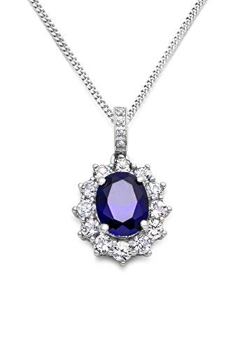 Miore Kette - Halskette Damen Kette Silberfarbig 925 Sterling Silber Saphir mit Rundschliff Zirkonia Steinchen 45 cm