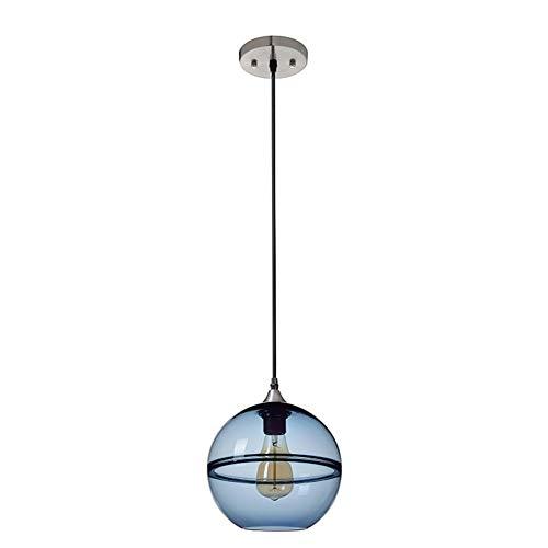 E27 Pendel Lámpara Moderna estist Lámpara 1 Llama Hierro Colgante Lámpara Azul Vidrio Lámpara Colgante Techo Techo Altura Luz Ajustable Dormitorio Lámpara Gang Cocina Entrada φ25cm