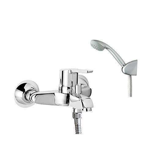 Ramon Soler 46C305025 Atalanta – Grifo de baño-ducha, con teleducha ABS y flexo, sistema C2 de ahorro de agua del 50%, limitador de temperatura y cromado Diamond Finish, Cromo