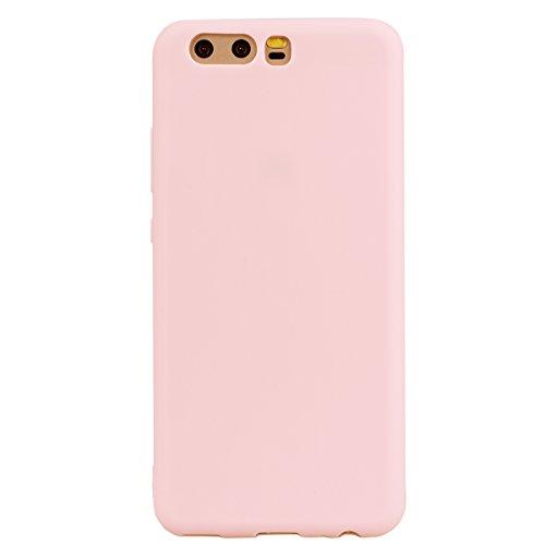 cuzz Funda para Huawei P10+{Protector de Pantalla de Vidrio Templado} Carcasa Silicona Suave Gel Rasguño y Resistente Teléfono Móvil Cover-Rosa Claro