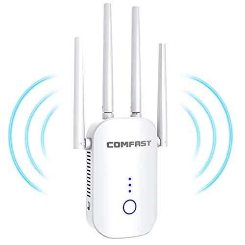 jojobnj WLAN Repeater, WLAN Verstärker 1200Mbit/s 2,4GHz&5,8 GHz WiFi Repeater mit Repeater Modus/AccessPoint/WPS/LAN-Port Funktion WiFi Range Extender Fur Großer Raum Villa Garten
