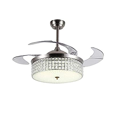 42 Inch Ceiling Fan Light with Remote Control 3 Change Color Retractable Blade Ceiling Fan Chandelier Indoor Decoration Silver LED Crystal Fan Lamp Kit