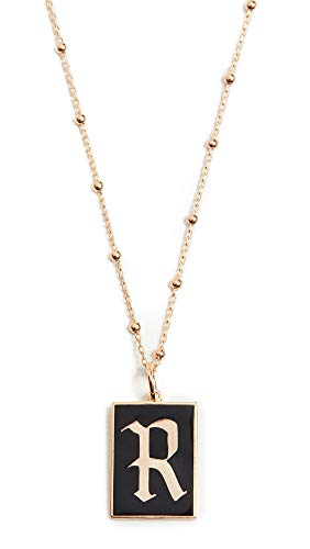 Maison Irem Women's Gothic Initial Necklace, R, Gold, Black, One Size
