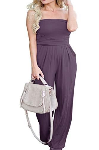PRIMODA Women's Tube Top Strapless Off Shoulder Loose Wide Leg Jumpsuit Romper with Pockets (Purple L)