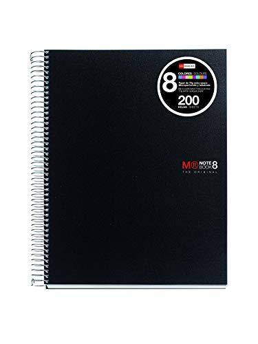 Miquelrius 42006 - Cuaderno A4, 200 hojas (franjas de 8 colores), cuadrícula 5 mm, tapa de polipropileno, color negro